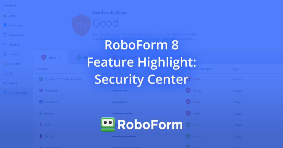 RoboForm 8 Feature Highlight: Security Center