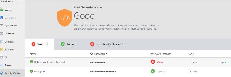 Security Center screenshot
